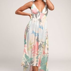 ONEILL BEIGE MULTI PRINT STRAPY BACKLESS MAXI DRES